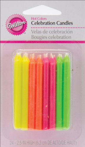 Wilton Birthday Candles 25 Inches Hot Colors 24ct