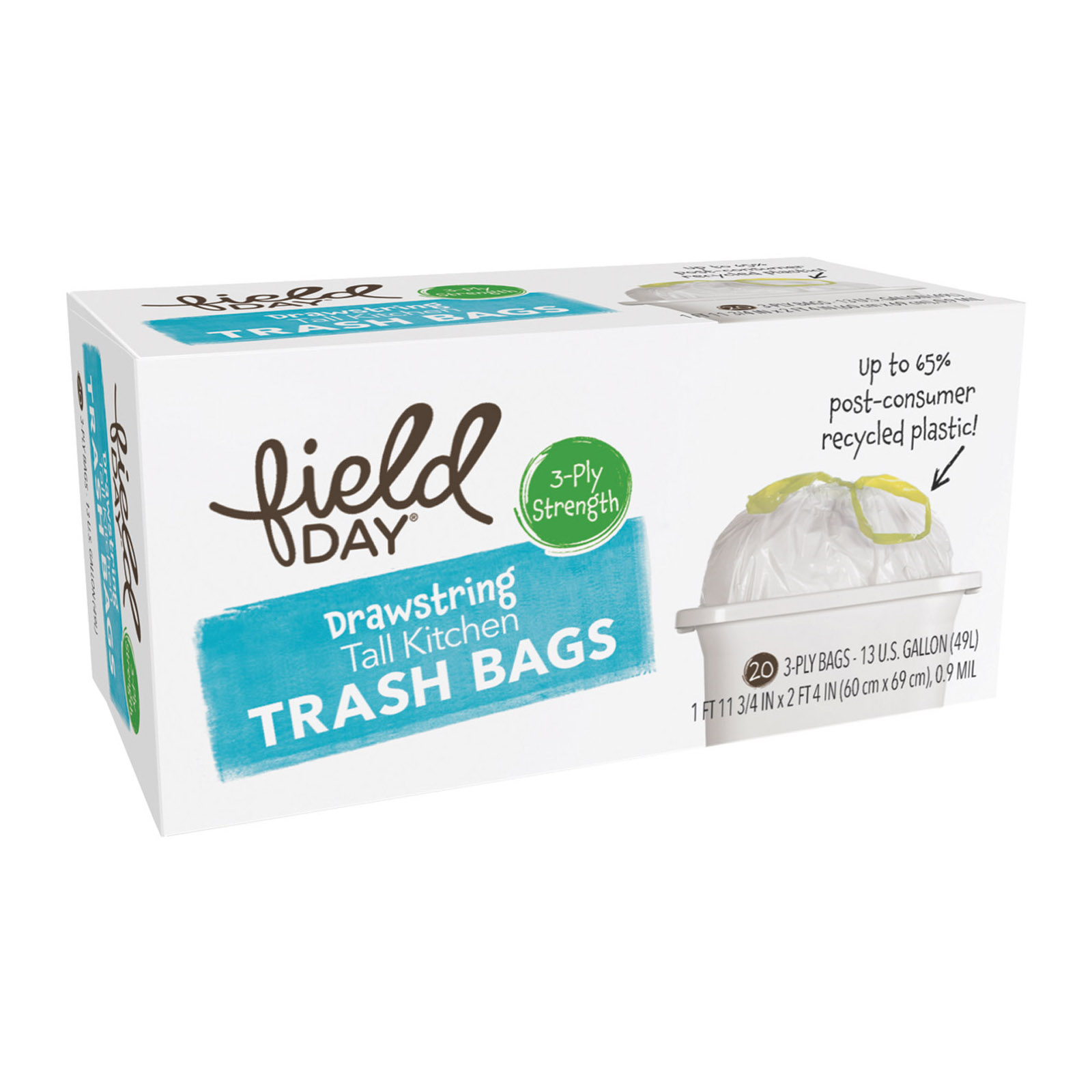 Field Day Drawstring Tall Kitchen Trash Bags - Trash Bags - 20 Count ...