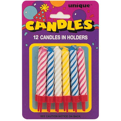 Unique Assorted Spiral Birthday Cake Candles In Holders 12ct