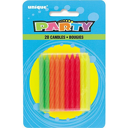 Unique Neon Birthday Candles 20 Ct