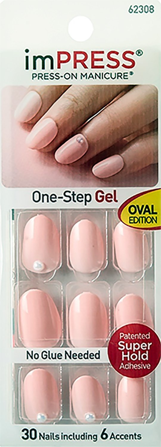Kiss Impress Oval With Pearl Accents Next Wave Gel Press On Manicure 30ct