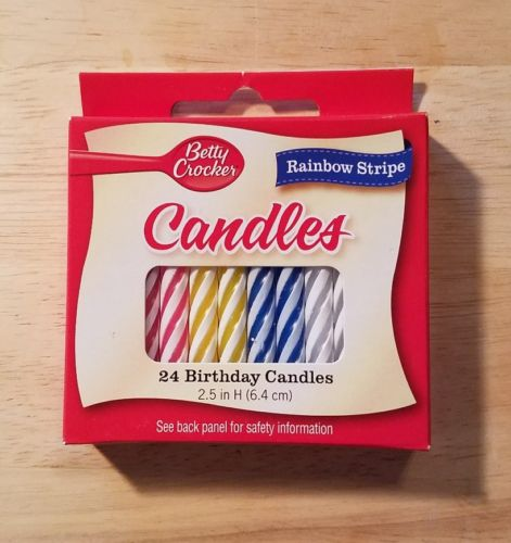 Betty Crocker Birthday Candles Medium Spiral Rainbow 24s